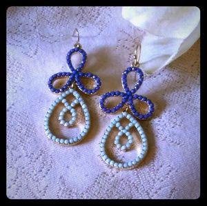 Two Tones of Blue Bead Dangle Earrings
